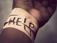 Image: Self-harm wrist covered with bandage